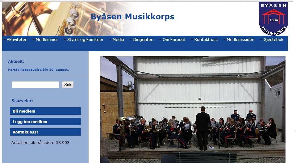 Hjemmeside for et tilfeldig valgt musikkorps. De fleste hjemmesider i foreningsnorge ser om lag slik ut