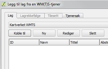 """QGIS skjermdump. Klikk """"koble til"""" for å få tilgjengelige kartlag fra tjenesten."""